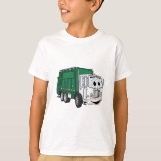 Dibujo animado sonriente blanco verde del camión playera