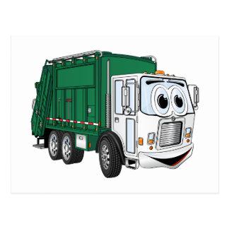 Dibujo animado sonriente blanco verde del camión postal