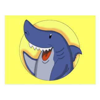 Dibujo animado sonriente del tiburón azul postales