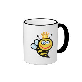 dibujo animado sonriente lindo tonto de la abeja taza a dos colores