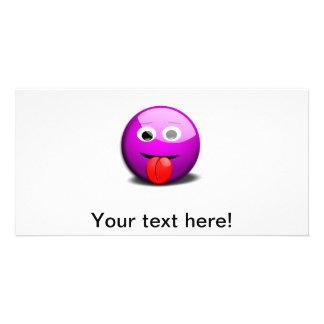 Dibujo animado sonriente púrpura triste tarjetas fotográficas personalizadas