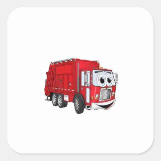 Dibujo animado sonriente rojo del camión de basura