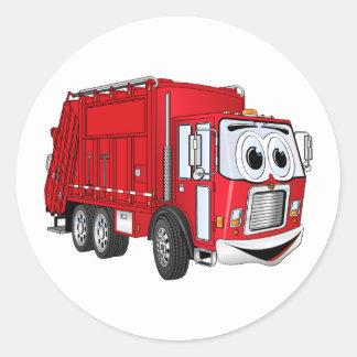 Dibujo animado sonriente rojo del camión de basura pegatina redonda