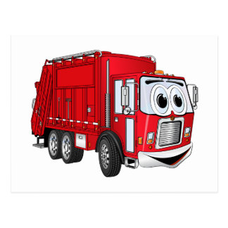 Dibujo animado sonriente rojo del camión de basura tarjetas postales