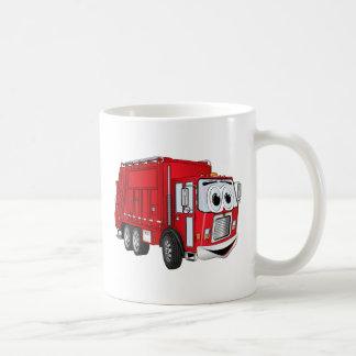 Dibujo animado sonriente rojo del camión de basura taza de café
