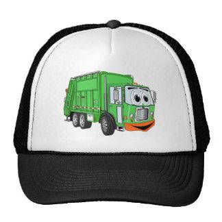 Dibujo animado sonriente tonto del camión de basur gorro de camionero