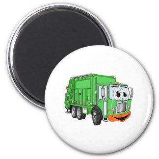 Dibujo animado sonriente tonto del camión de basur imán redondo 5 cm
