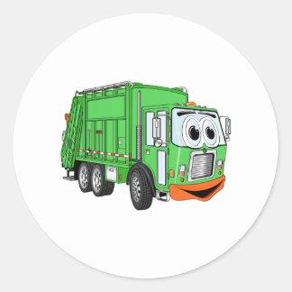 Dibujo animado sonriente tonto del camión de basur etiquetas