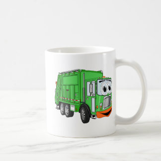 Dibujo animado sonriente tonto del camión de basur tazas