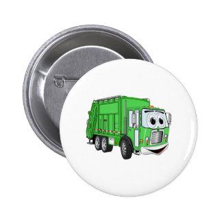 Dibujo animado sonriente verde claro del camión de pin redondo de 2 pulgadas