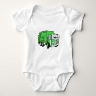 Dibujo animado sonriente verde claro del camión de playeras