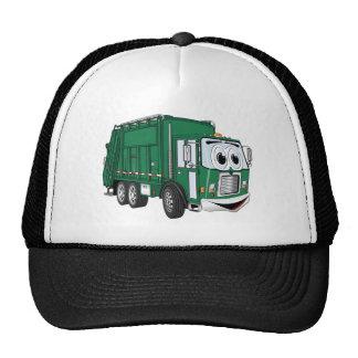 Dibujo animado sonriente verde del camión de basur gorros