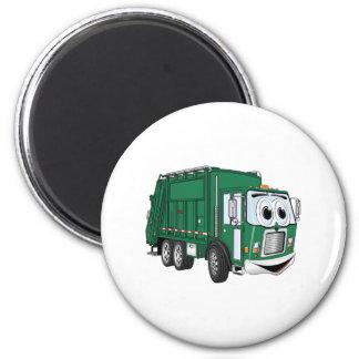 Dibujo animado sonriente verde del camión de basur imán redondo 5 cm