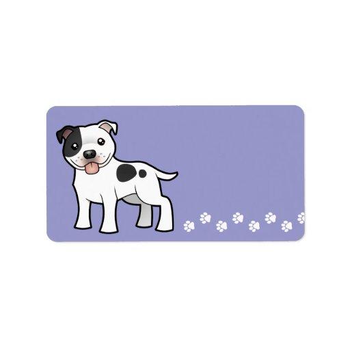 Dibujo animado Staffordshire bull terrier Etiqueta De Dirección