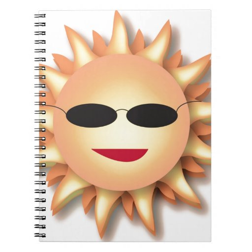Dibujo animado Sun que lleva sombras frescas Libretas Espirales