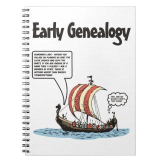 Dibujo animado temprano de la genealogía notebook