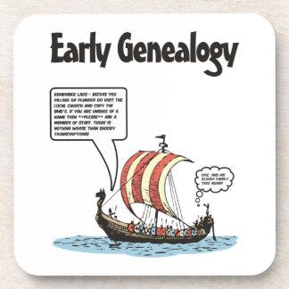 Dibujo animado temprano de la genealogía posavasos de bebida