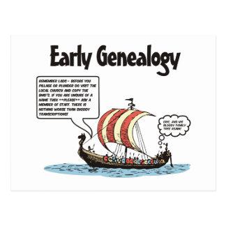 Dibujo animado temprano de la genealogía postales