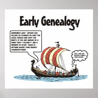 Dibujo animado temprano de la genealogía póster