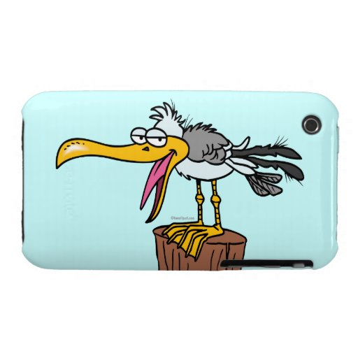 dibujo animado tonto de la gaviota Case-Mate iPhone 3 carcasa