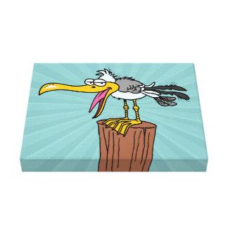 dibujo animado tonto de la gaviota impresión en lienzo