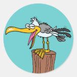 dibujo animado tonto de la gaviota etiquetas redondas