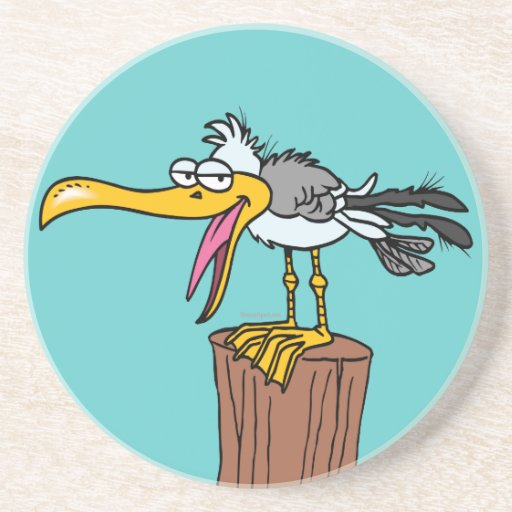 dibujo animado tonto de la gaviota posavasos personalizados