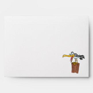 dibujo animado tonto de la gaviota sobres