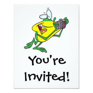 "dibujo animado tonto de la rana del fotógrafo invitación 4.25"" x 5.5"""