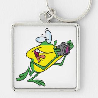 dibujo animado tonto de la rana del fotógrafo llavero personalizado