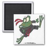 dibujo animado tonto de la rana del ninja imán de frigorífico