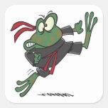 dibujo animado tonto de la rana del ninja pegatina cuadradas