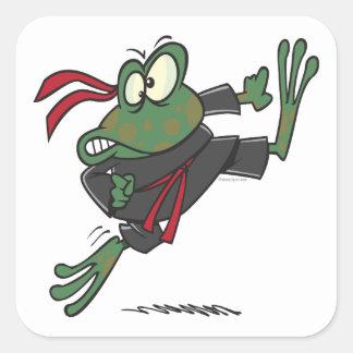 dibujo animado tonto de la rana del ninja pegatina cuadrada
