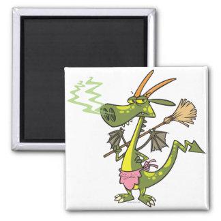 dibujo animado tonto de la señora del dragón de la imán cuadrado