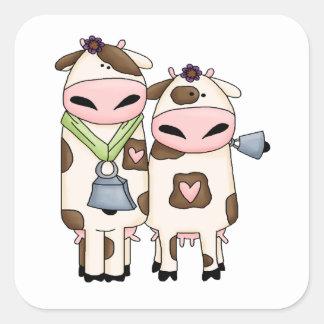 dibujo animado tonto de los pares de la vaca del M Pegatinas Cuadradases