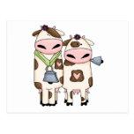dibujo animado tonto de los pares de la vaca del M Tarjeta Postal