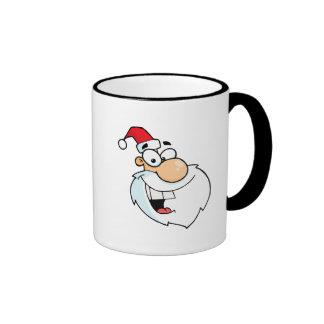 dibujo animado tonto de santa tazas de café