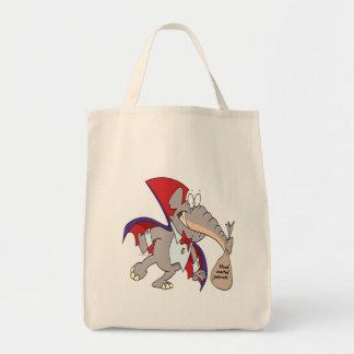 dibujo animado tonto del elefante del vampiro bolsa tela para la compra