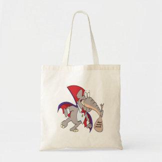 dibujo animado tonto del elefante del vampiro bolsa tela barata
