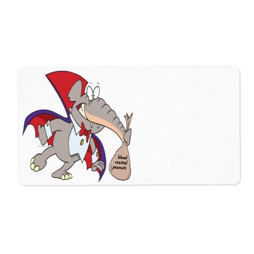 dibujo animado tonto del elefante del vampiro etiqueta de envío