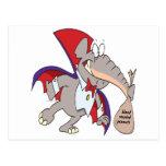 dibujo animado tonto del elefante del vampiro postal