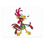dibujo animado tonto del gallo del canto postal