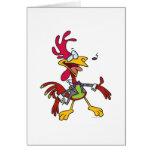 dibujo animado tonto del gallo del canto tarjeta de felicitación