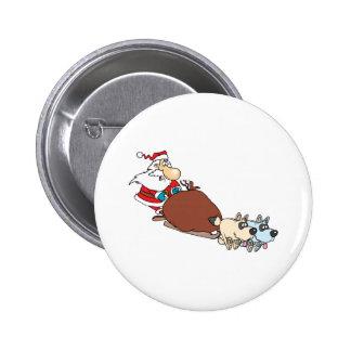 dibujo animado tonto del trineo de santa y de perr pin redondo 5 cm