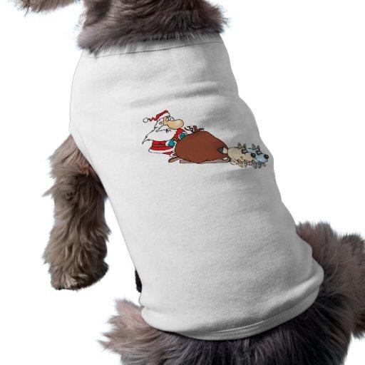 dibujo animado tonto del trineo de santa y de perr camisa de perro