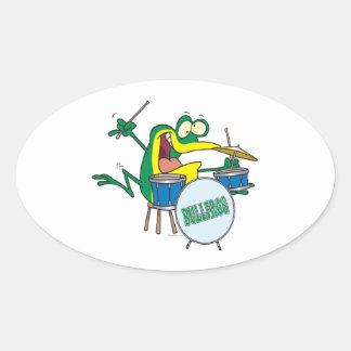 dibujo animado tonto divertido del batería de la pegatina ovalada