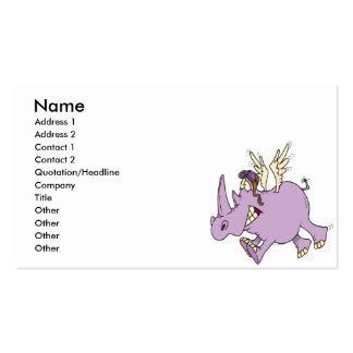dibujo animado tonto divertido del rinoceronte del tarjeta de visita