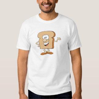 dibujo animado tonto feliz de la tostada del pan remeras