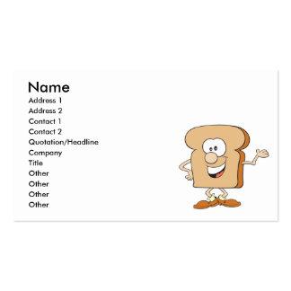 dibujo animado tonto feliz de la tostada del pan tarjetas de visita