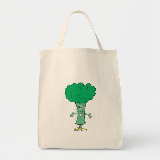 dibujo animado tonto feliz del bróculi bolsas de mano